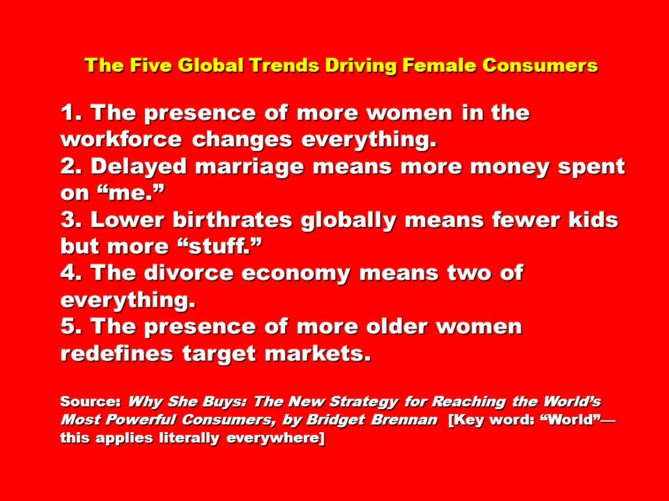 1. The presence of more women in the workforce changes everything.