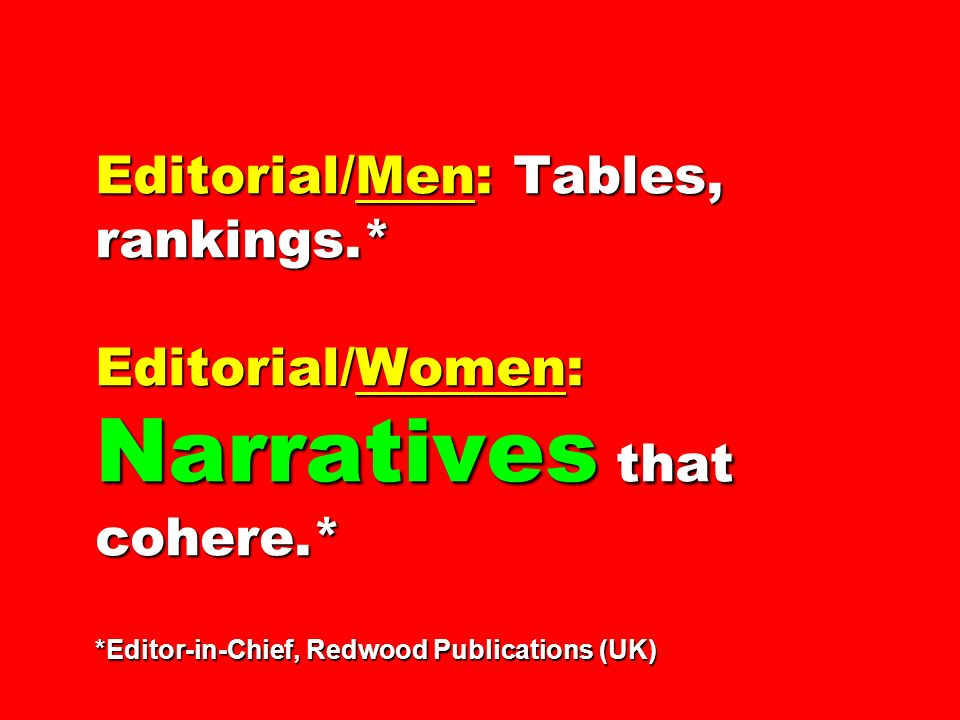 Editorial/Men: Tables, rankings