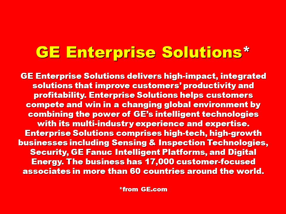 GE Enterprise Solutions*