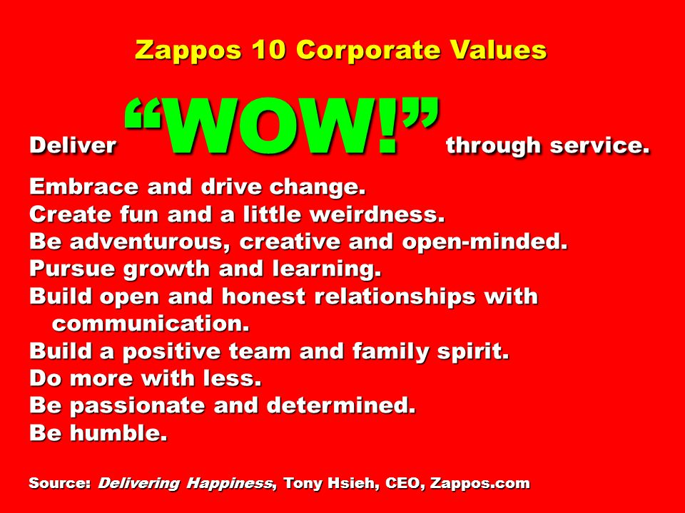 Zappos 10 Corporate Values Deliver WOW. through service