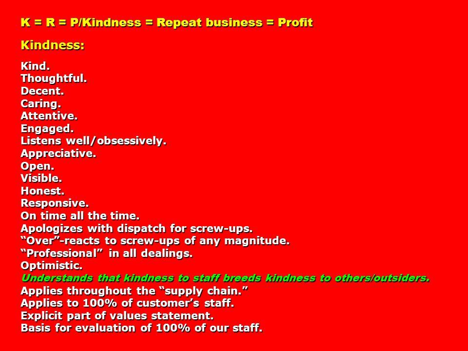 K = R = P/Kindness = Repeat business = Profit Kindness: