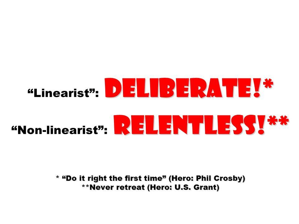 Linearist : deliberate. Non-linearist : relentless