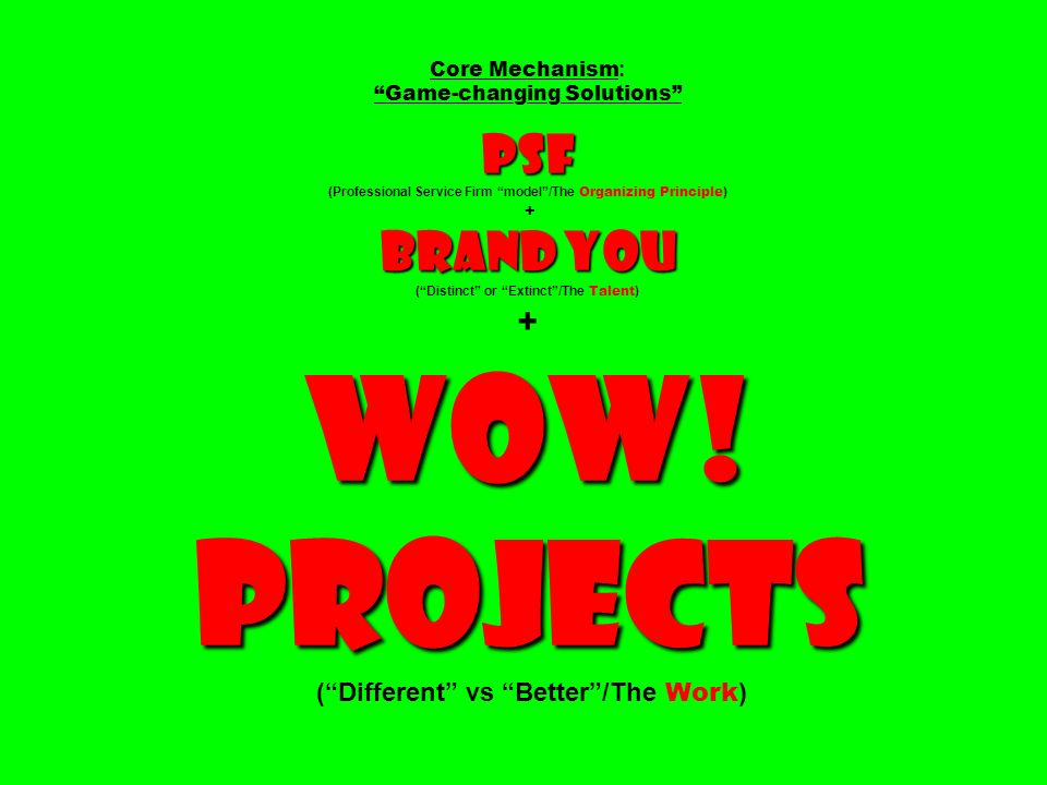 Core Mechanism: Game-changing Solutions PSF (Professional Service Firm model /The Organizing Principle) + Brand You ( Distinct or Extinct /The Talent) + Wow.