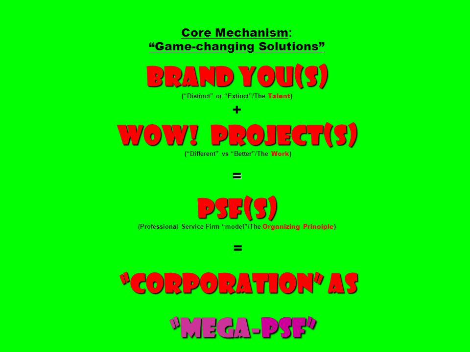 Core Mechanism: Game-changing Solutions Brand You(S) ( Distinct or Extinct /The Talent) + Wow.