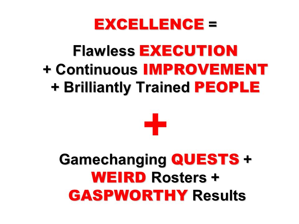 EXCELLENCE = Flawless EXECUTION + Continuous IMPROVEMENT + Brilliantly Trained PEOPLE + Gamechanging QUESTS + WEIRD Rosters + GASPWORTHY Results