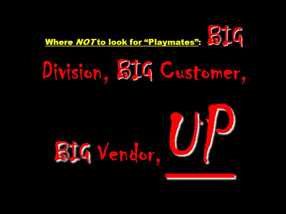 Where NOT to look for Playmates : BIG Division, BIG Customer, BIG Vendor, UP