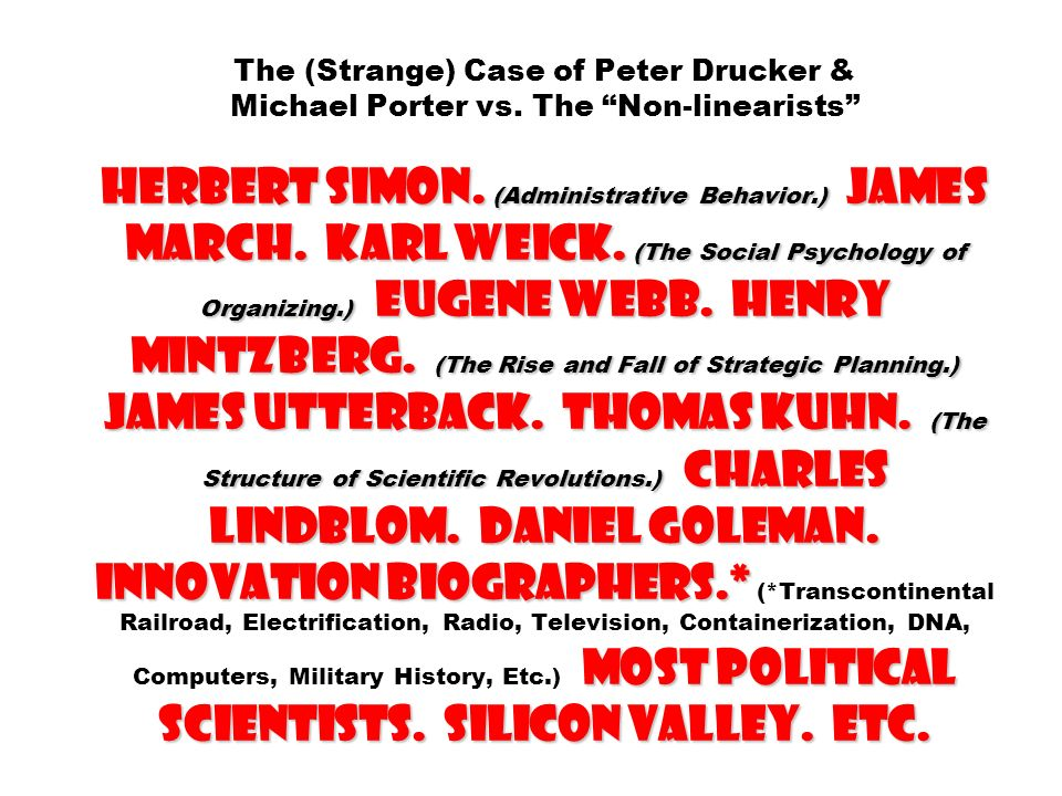 The (Strange) Case of Peter Drucker & Michael Porter vs