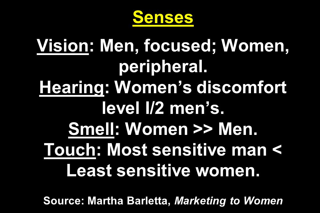 Senses Vision: Men, focused; Women, peripheral