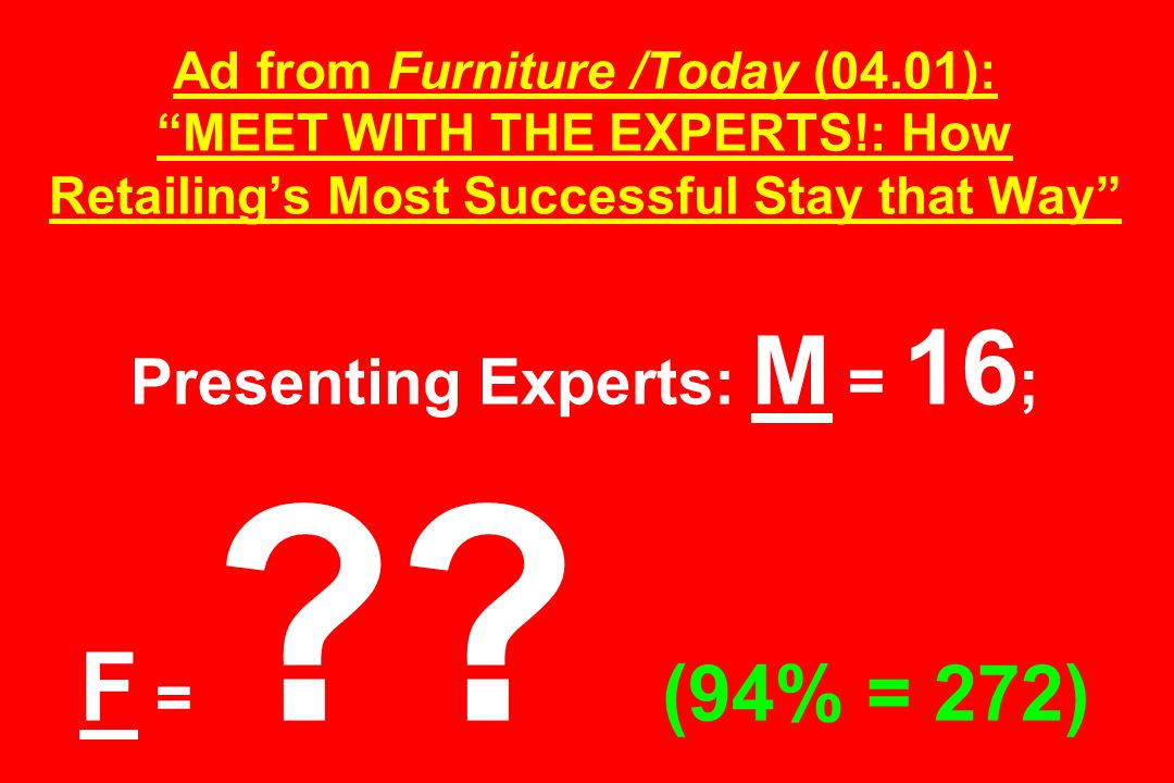 Ad from Furniture /Today (04. 01): MEET WITH THE EXPERTS