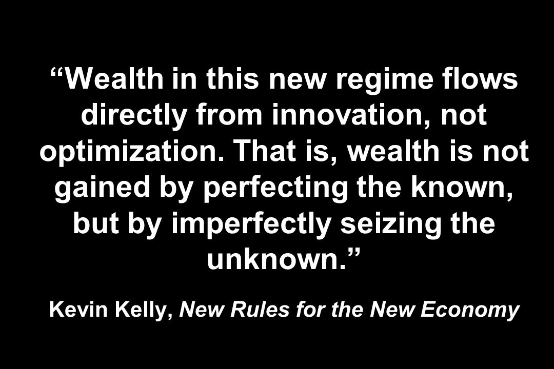 Wealth in this new regime flows directly from innovation, not optimization.