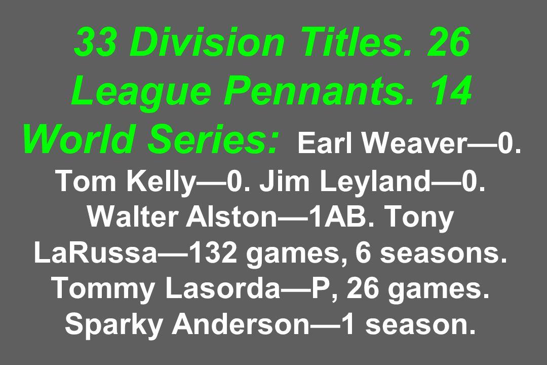 33 Division Titles. 26 League Pennants. 14 World Series: Earl Weaver—0