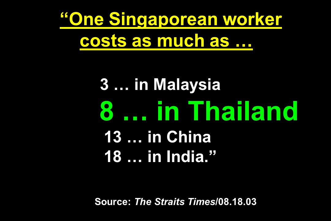 One Singaporean worker costs as much as … 3 … in Malaysia 8 … in Thailand 13 … in China 18 … in India. Source: The Straits Times/08.18.03