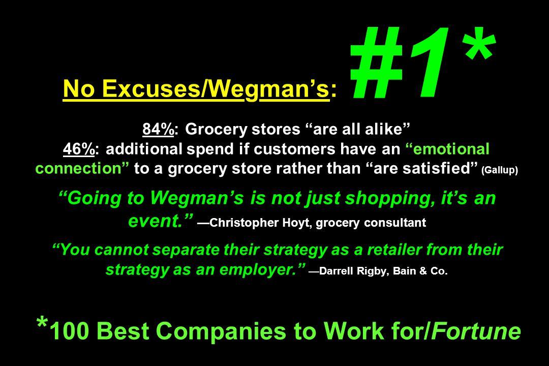 No Excuses/Wegman's: #1