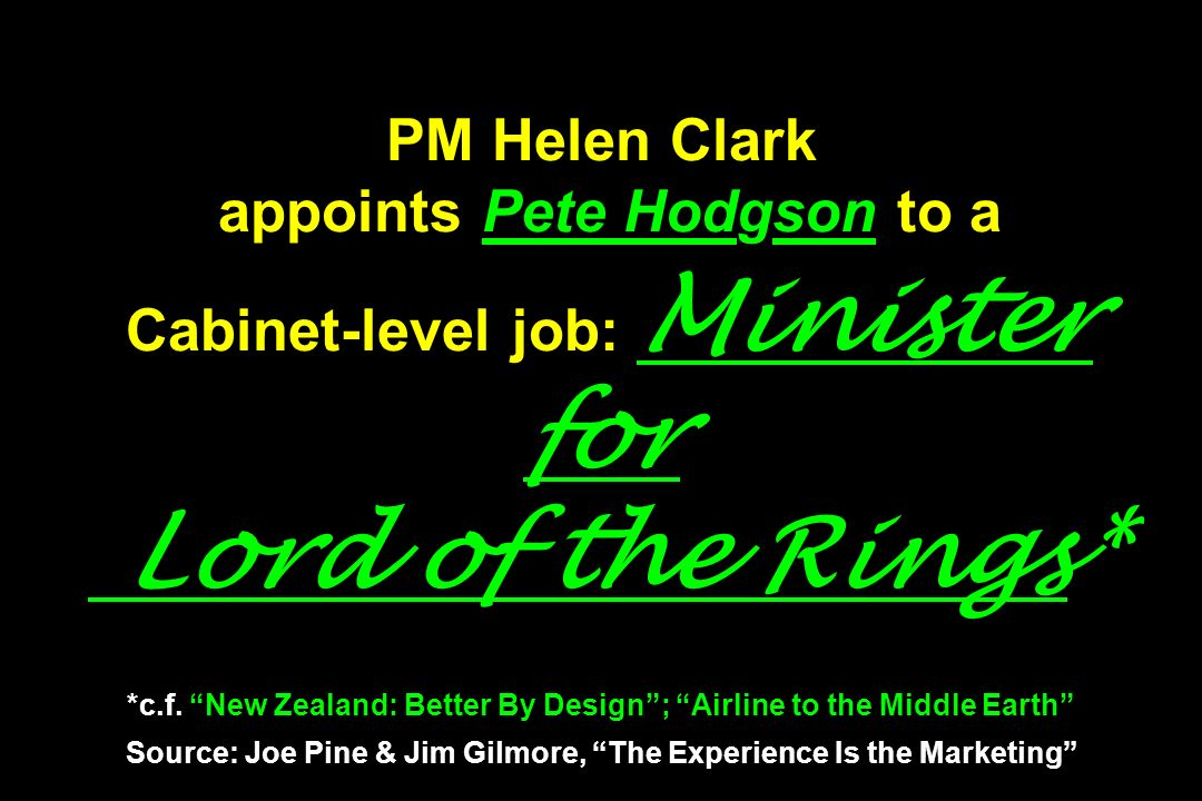 PM Helen Clark appoints Pete Hodgson to a Cabinet-level job: Minister for Lord of the Rings* *c.f.