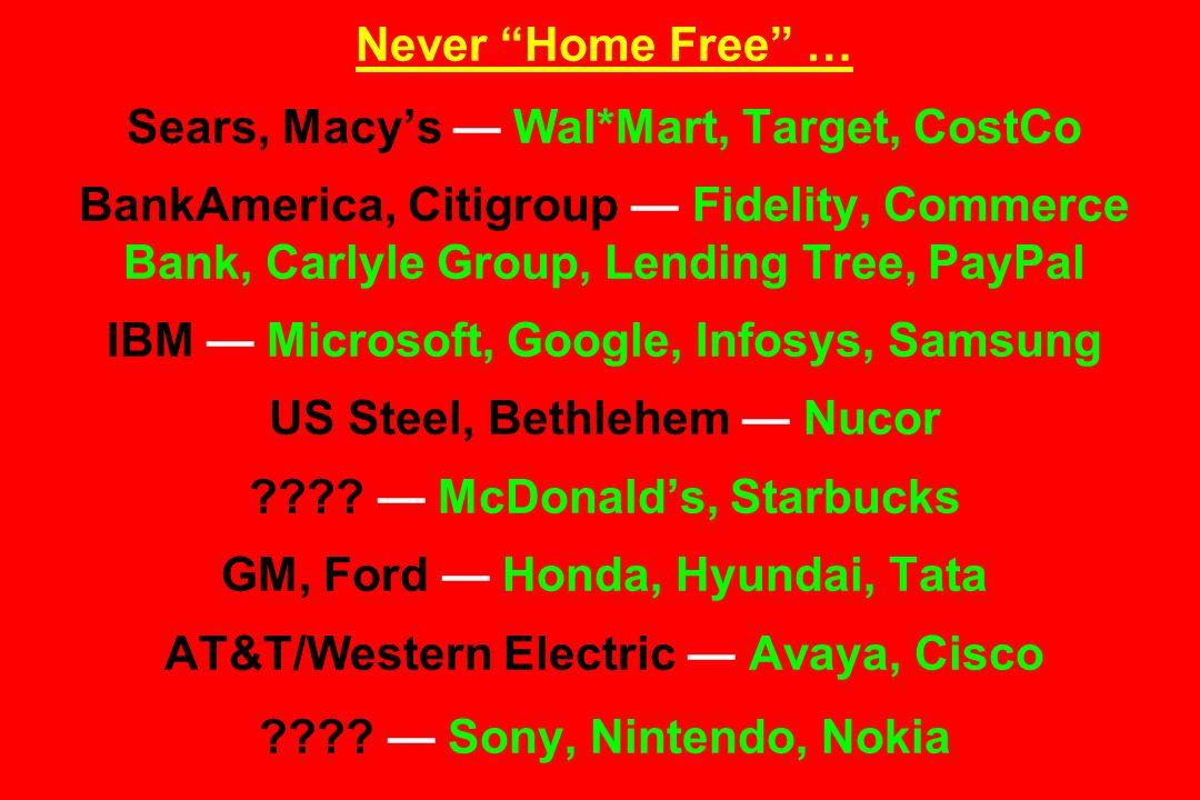 Never Home Free … Sears, Macy's — Wal