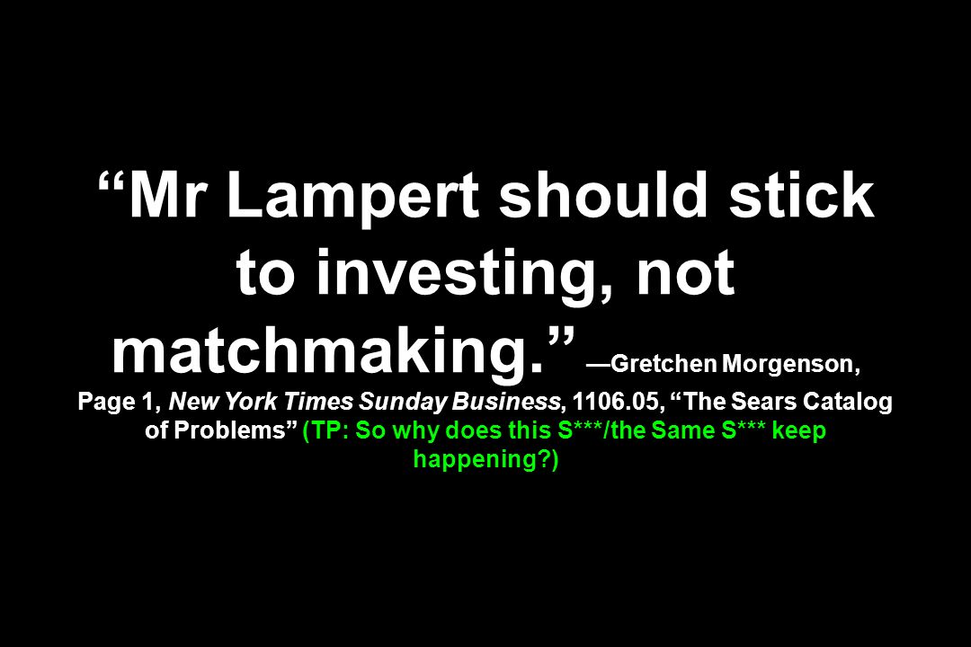Mr Lampert should stick to investing, not matchmaking