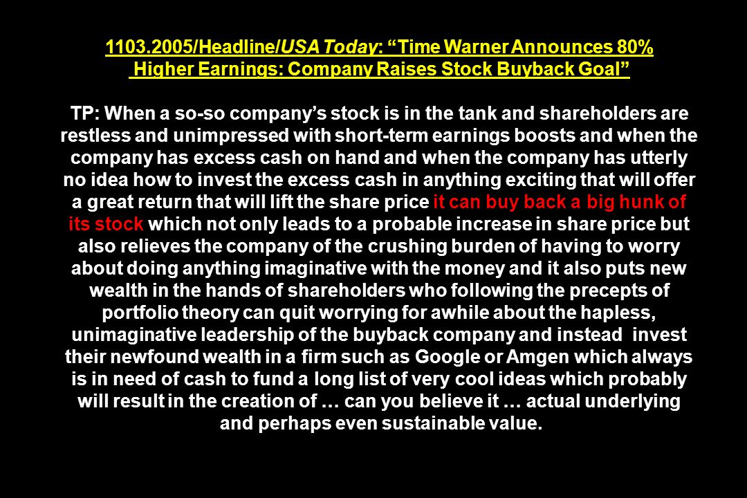 1103.2005/Headline/USA Today: Time Warner Announces 80%