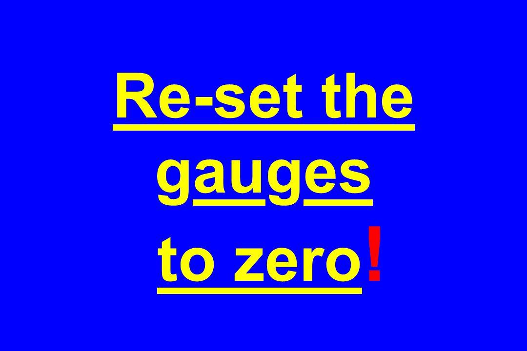 Re-set the gauges to zero!