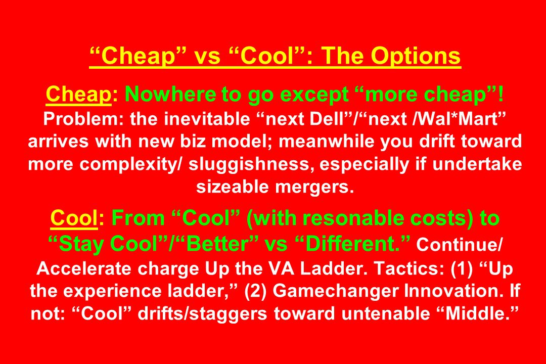 Cheap vs Cool : The Options Cheap: Nowhere to go except more cheap .