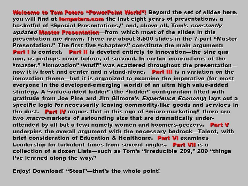 Welcome to Tom Peters PowerPoint World