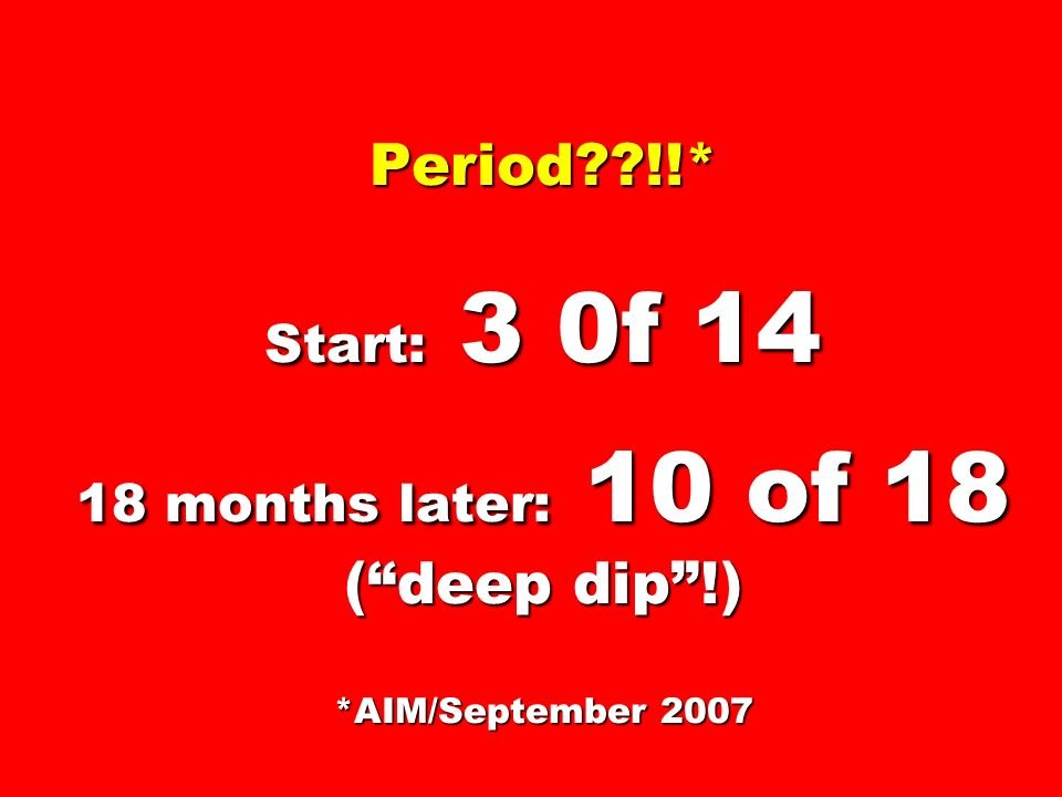 Period. Start: 3 0f 14 18 months later: 10 of 18 ( deep dip . )