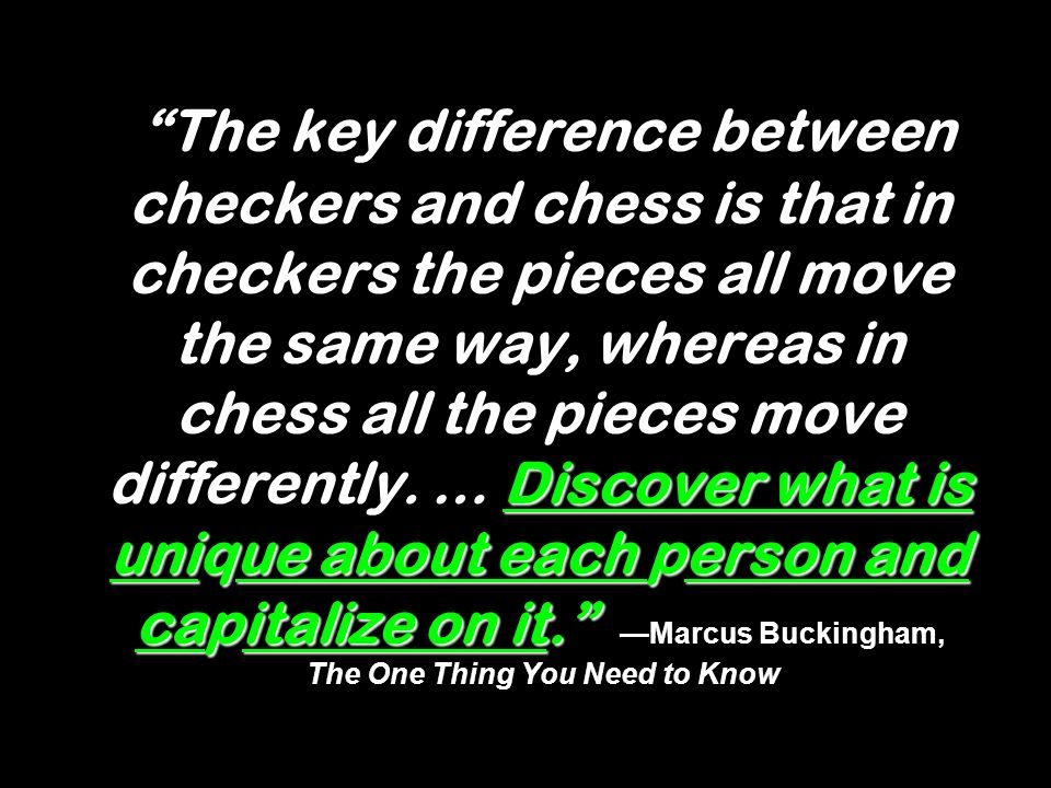 The key difference between checkers and chess is that in checkers the pieces all move the same way, whereas in chess all the pieces move differently.