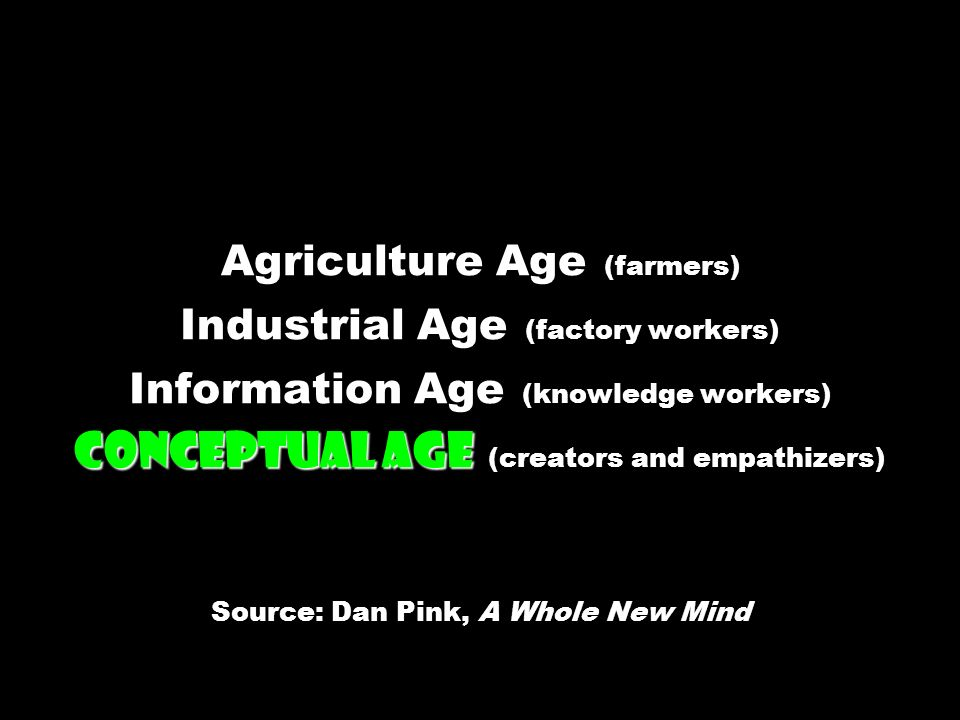 Agriculture Age (farmers) Industrial Age (factory workers) Information Age (knowledge workers) Conceptual Age (creators and empathizers) Source: Dan Pink, A Whole New Mind
