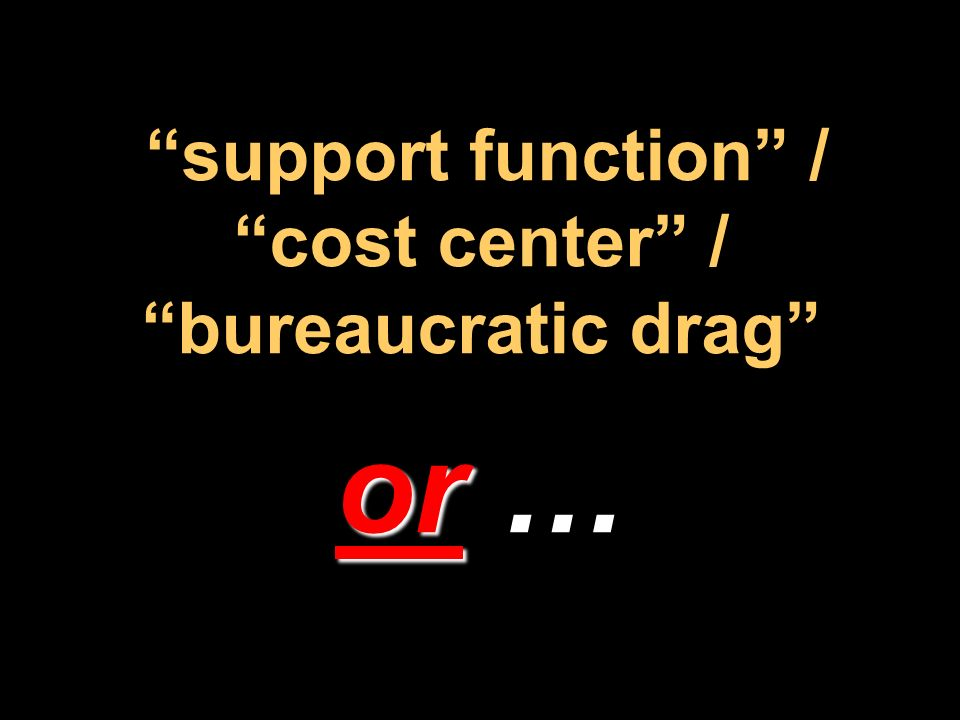 support function / cost center / bureaucratic drag or …