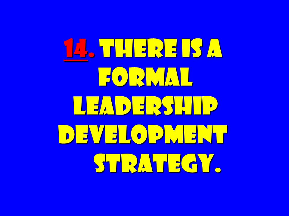 14. There Is a FORMAL Leadership Development Strategy.