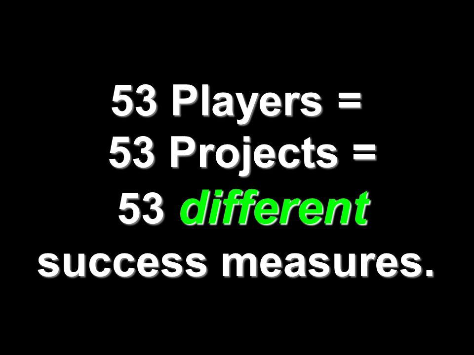 53 Players = 53 Projects = 53 different success measures.