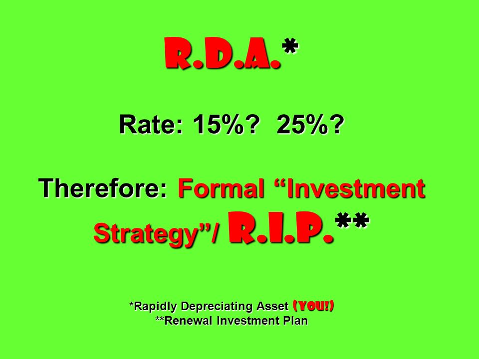 R. D. A. Rate: 15%. 25%. Therefore: Formal Investment Strategy / R. I