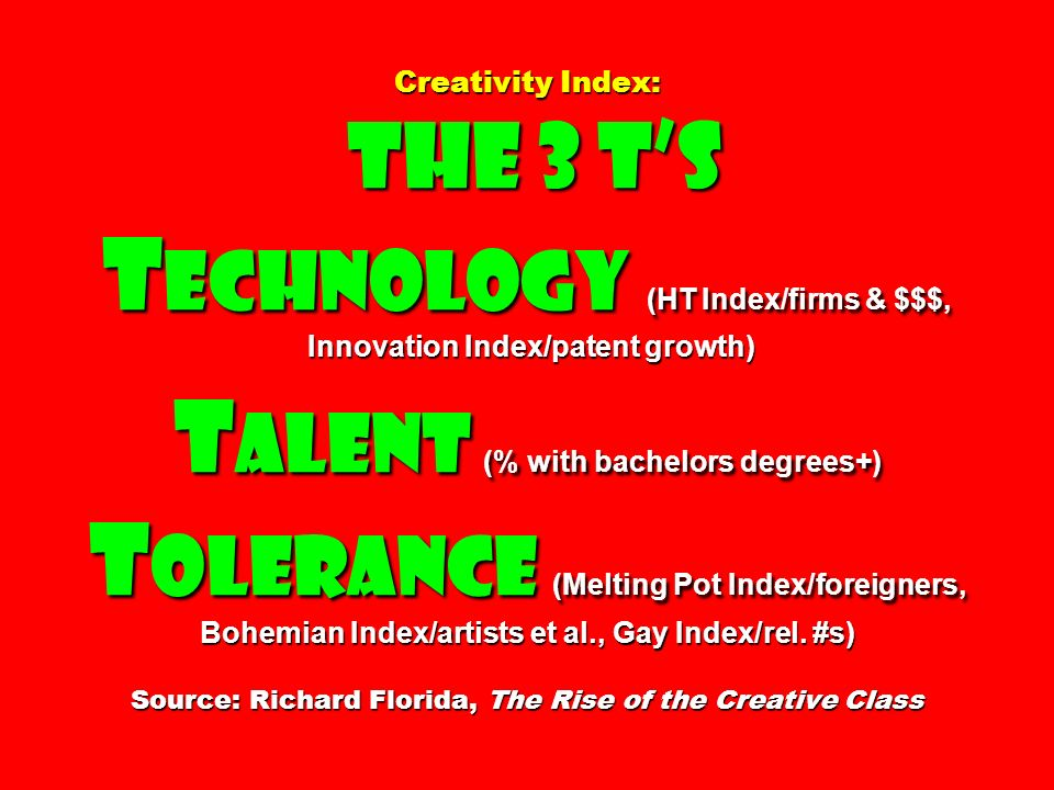 Creativity Index: The 3 T's Technology (HT Index/firms & $$$, Innovation Index/patent growth) Talent (% with bachelors degrees+) Tolerance (Melting Pot Index/foreigners, Bohemian Index/artists et al., Gay Index/rel.