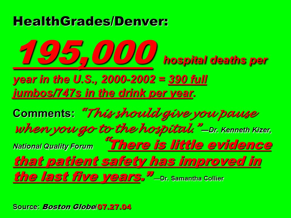 HealthGrades/Denver: 195,000 hospital deaths per year in the U. S