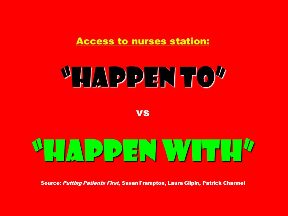Access to nurses station: Happen to vs Happen with Source: Putting Patients First, Susan Frampton, Laura Gilpin, Patrick Charmel
