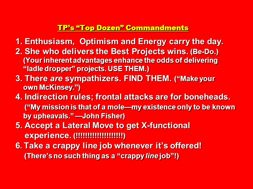 TP's Top Dozen Commandments 1