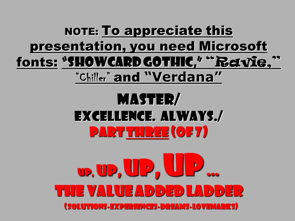 NOTE: To appreciate this presentation, you need Microsoft fonts: Showcard Gothic, Ravie, Chiller and Verdana Master/ Excellence.