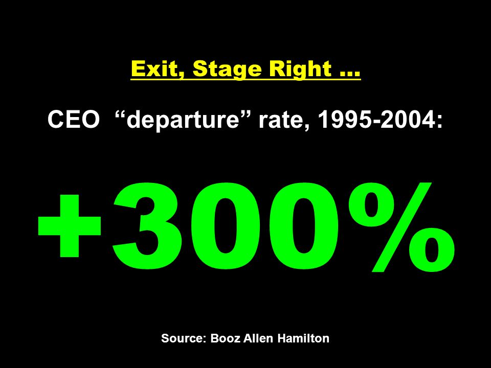 Exit, Stage Right … CEO departure rate, 1995-2004: +300% Source: Booz Allen Hamilton