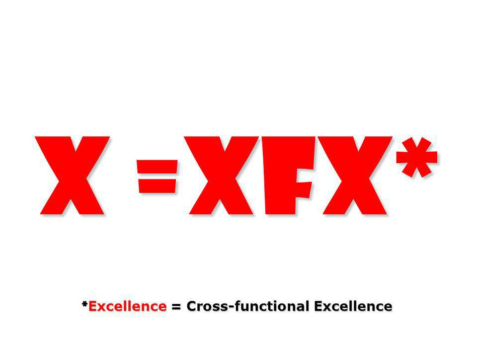 X =XFX* *Excellence = Cross-functional Excellence
