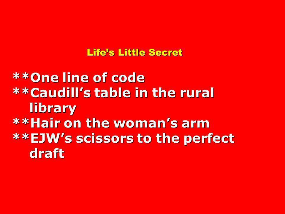 Life's Little Secret. One line of code