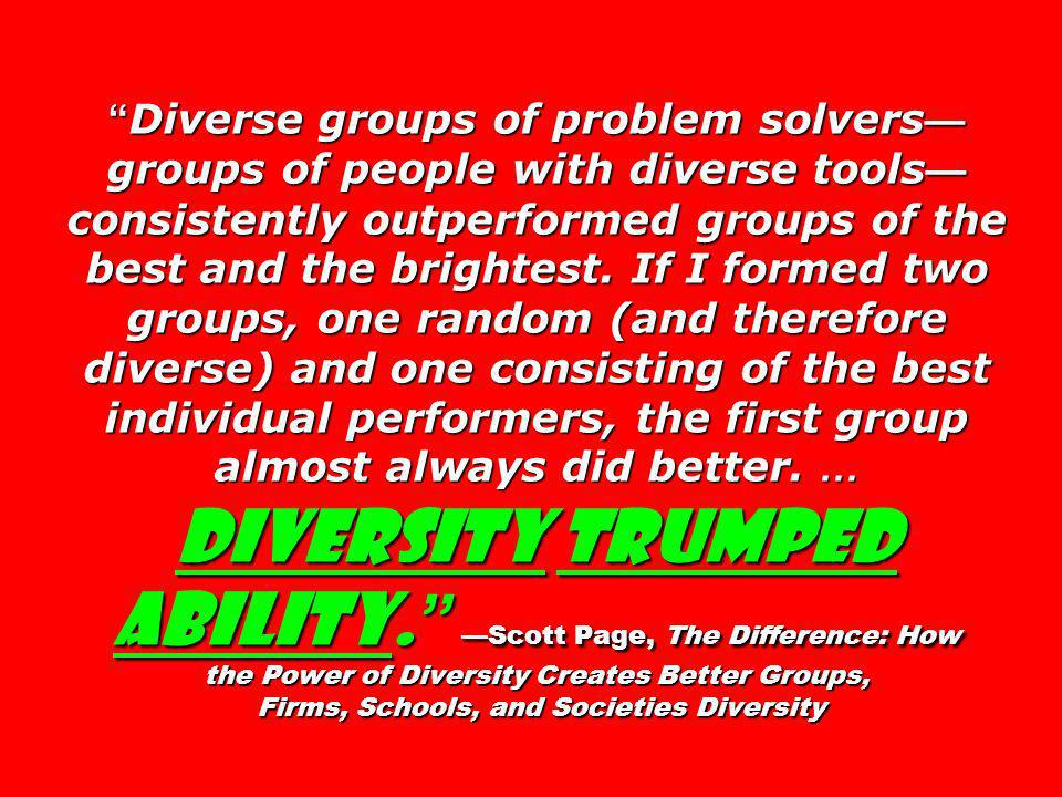 Diverse groups of problem solvers—groups of people with diverse tools—consistently outperformed groups of the best and the brightest.