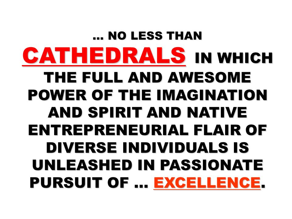 … NO LESS THAN CATHEDRALS IN WHICH THE FULL AND AWESOME POWER OF THE IMAGINATION AND SPIRIT AND NATIVE ENTREPRENEURIAL FLAIR OF DIVERSE INDIVIDUALS IS UNLEASHED IN PASSIONATE PURSUIT OF … EXCELLENCE.