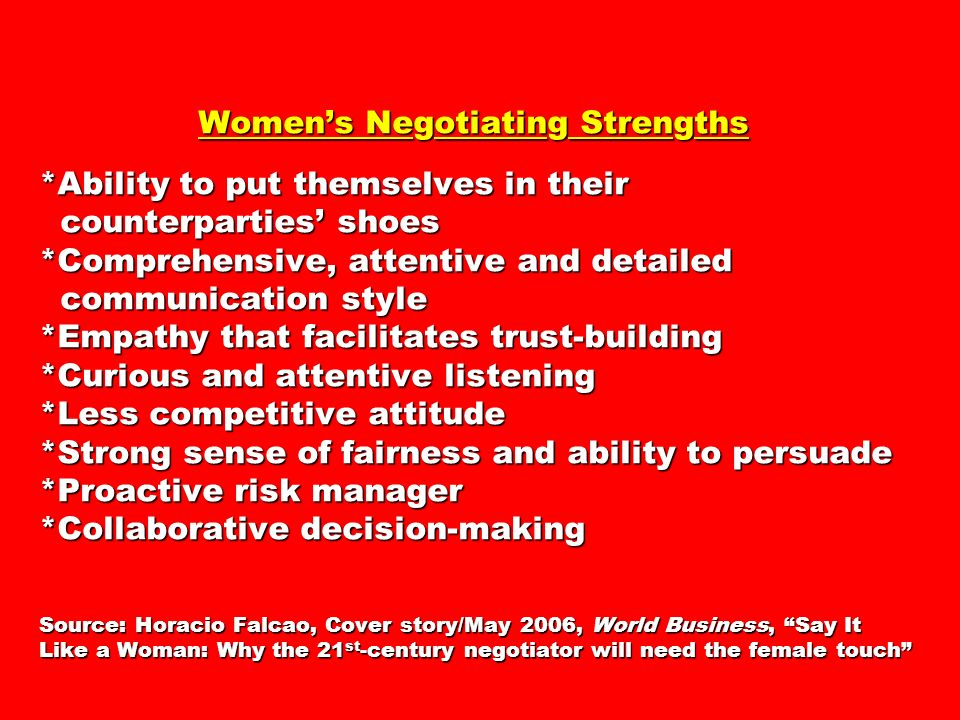 Women's Negotiating Strengths