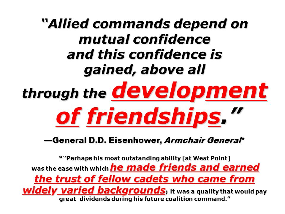 Allied commands depend on mutual confidence through the development