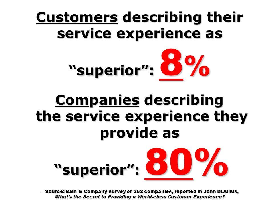Customers describing their service experience as superior : 8%