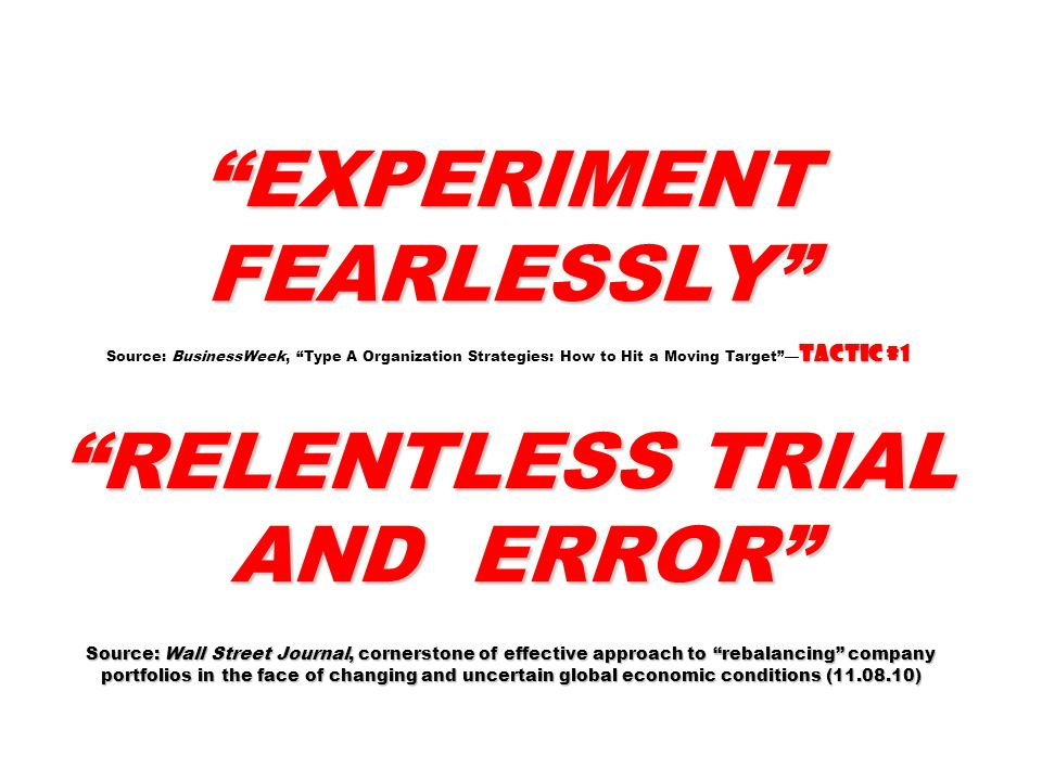 EXPERIMENT FEARLESSLY Source: BusinessWeek, Type A Organization Strategies: How to Hit a Moving Target —Tactic #1 RELENTLESS TRIAL AND ERROR Source: Wall Street Journal, cornerstone of effective approach to rebalancing company portfolios in the face of changing and uncertain global economic conditions (11.08.10)