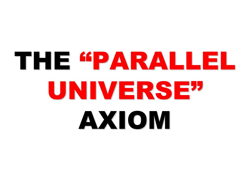 THE PARALLEL UNIVERSE AXIOM