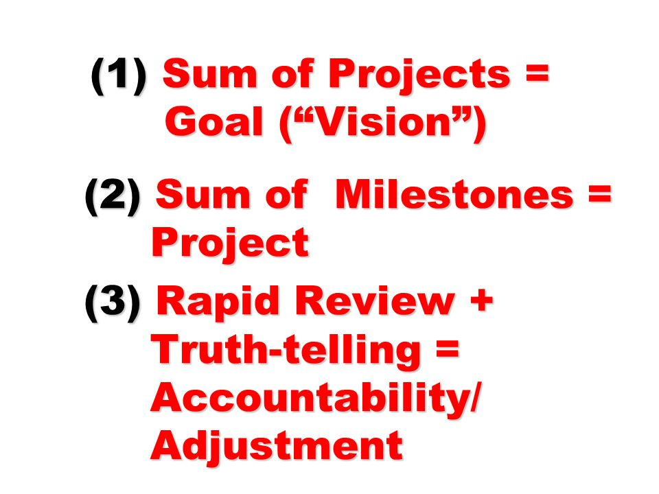 (1) Sum of Projects = Goal ( Vision ) (2) Sum of Milestones = Project (3) Rapid Review + Truth-telling = Accountability/ Adjustment
