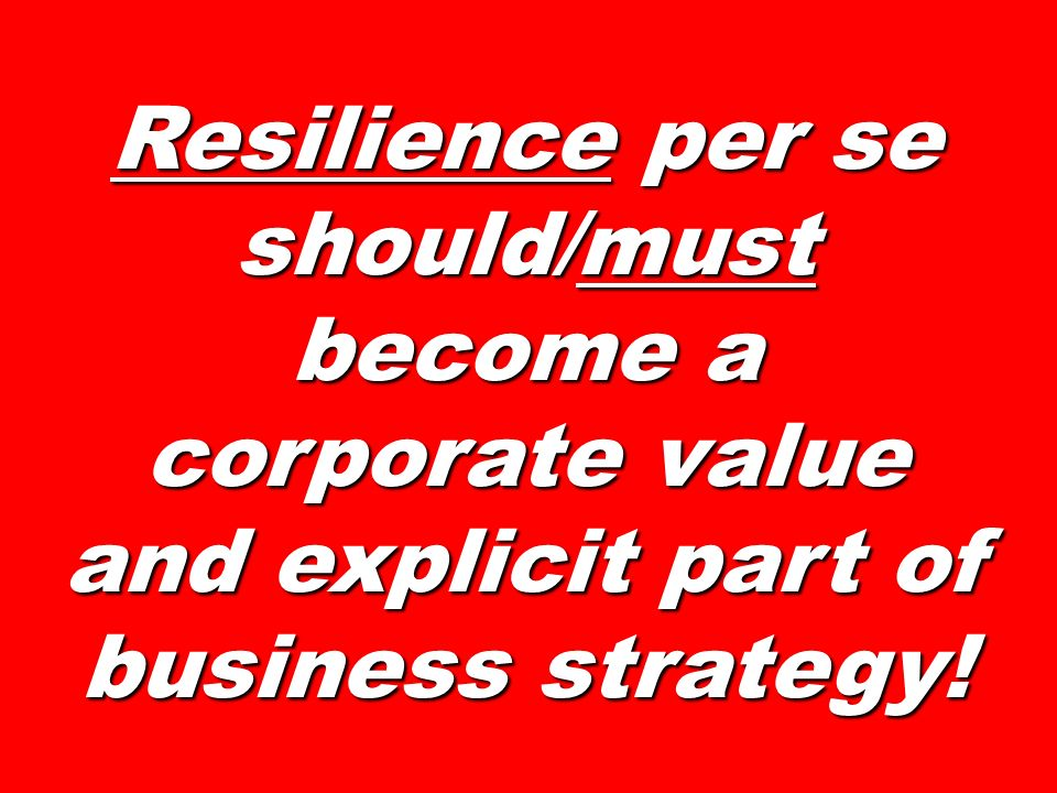 Resilience per se should/must become a corporate value and explicit part of business strategy!