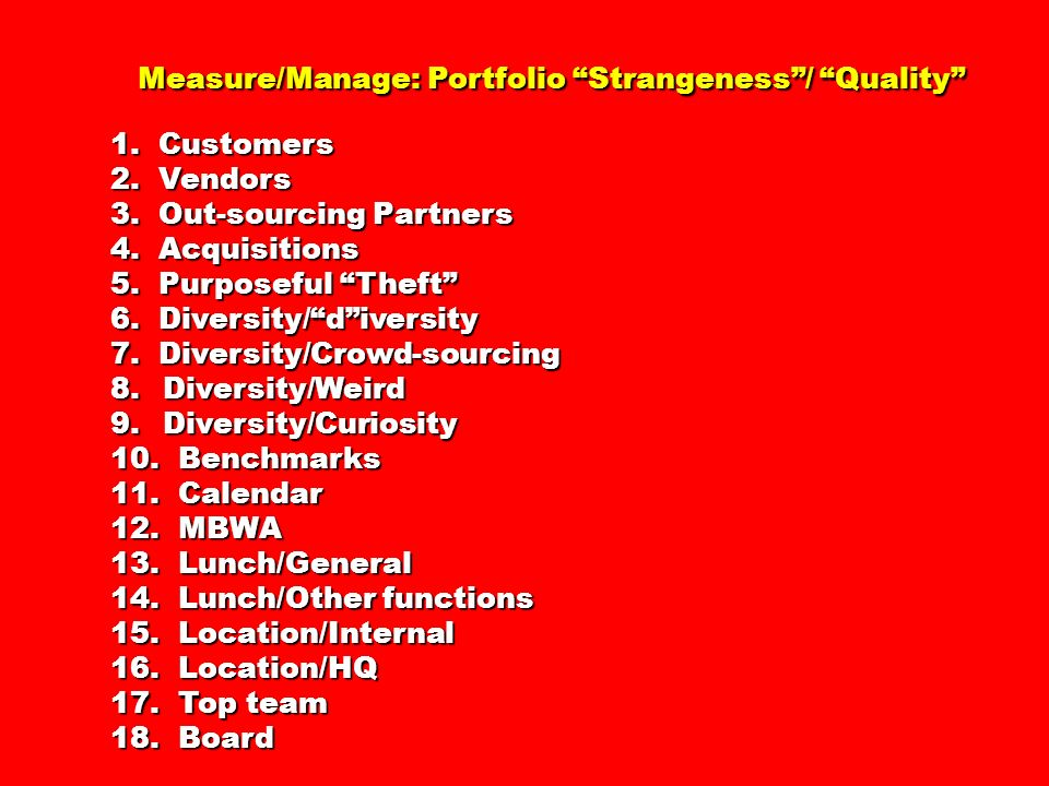 Measure/Manage: Portfolio Strangeness / Quality