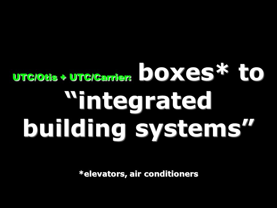 UTC/Otis + UTC/Carrier: boxes. to integrated building systems